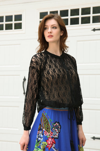 Sheer Lace Blouse with Tie