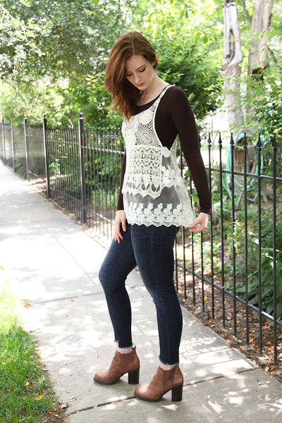 Lace and Crochet Camisole Overlay