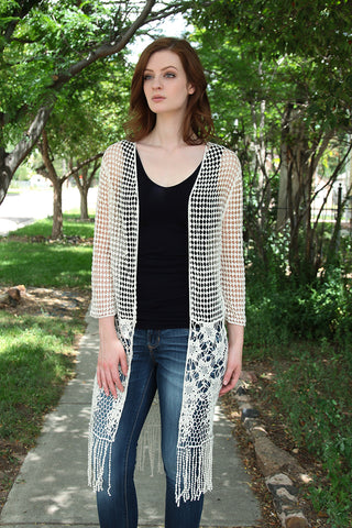Long Open Weave Cardigan
