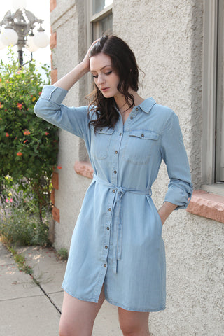 Shirt Dress in Light Denim Blue