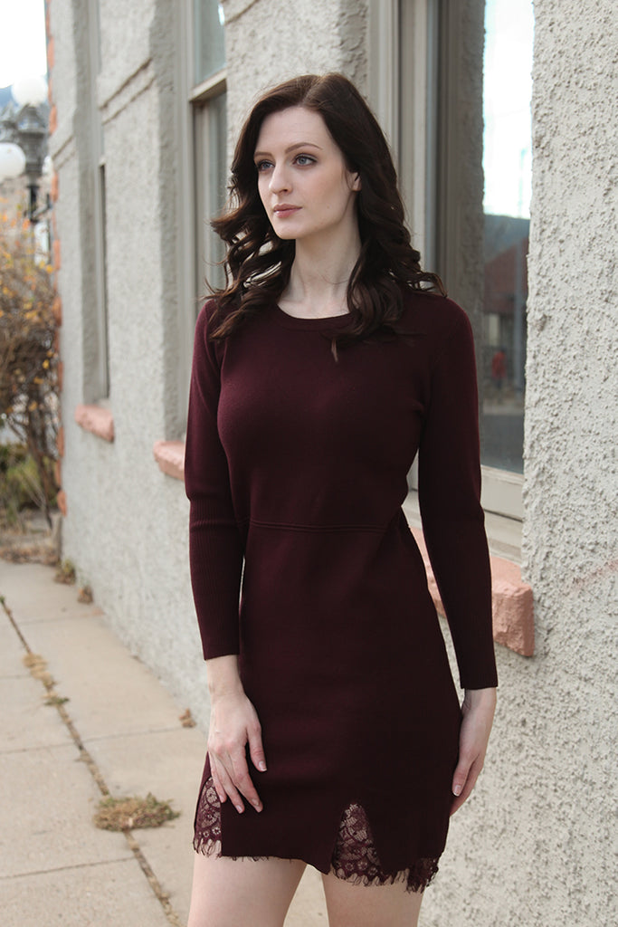 Sweater Dress with Lace Hem