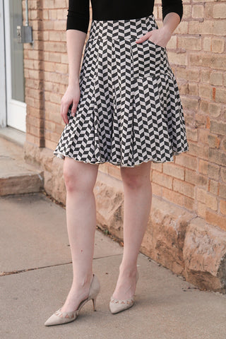 7 Year Skirt in Herringbone Print