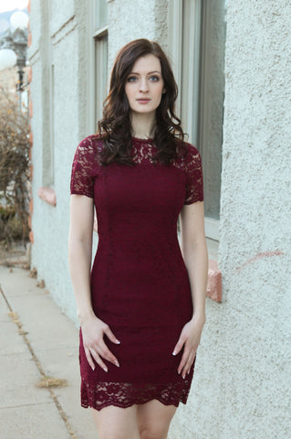 Lynette Lace Dress in Dark Red