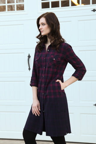 Lexi Roll Sleeve Shirt Dress