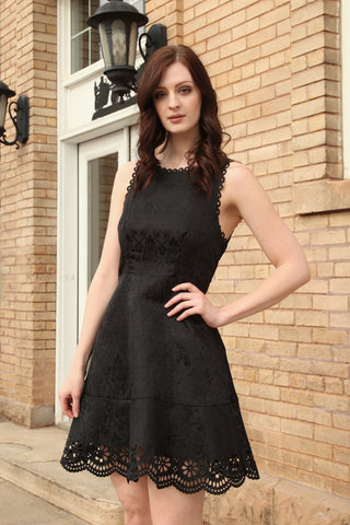 Jacquard Dress with Cutout Edge