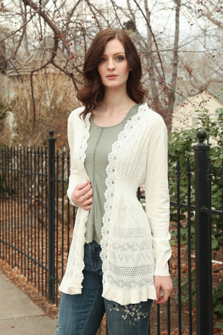 Lolita Knitted Cardigan in Off White