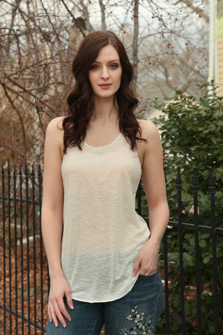 Lace Back Heart Tank Top