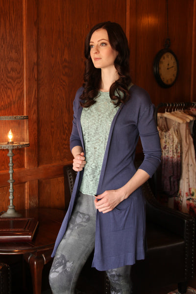 3/4 Sleeve Open Cardigan in Organic Indigo