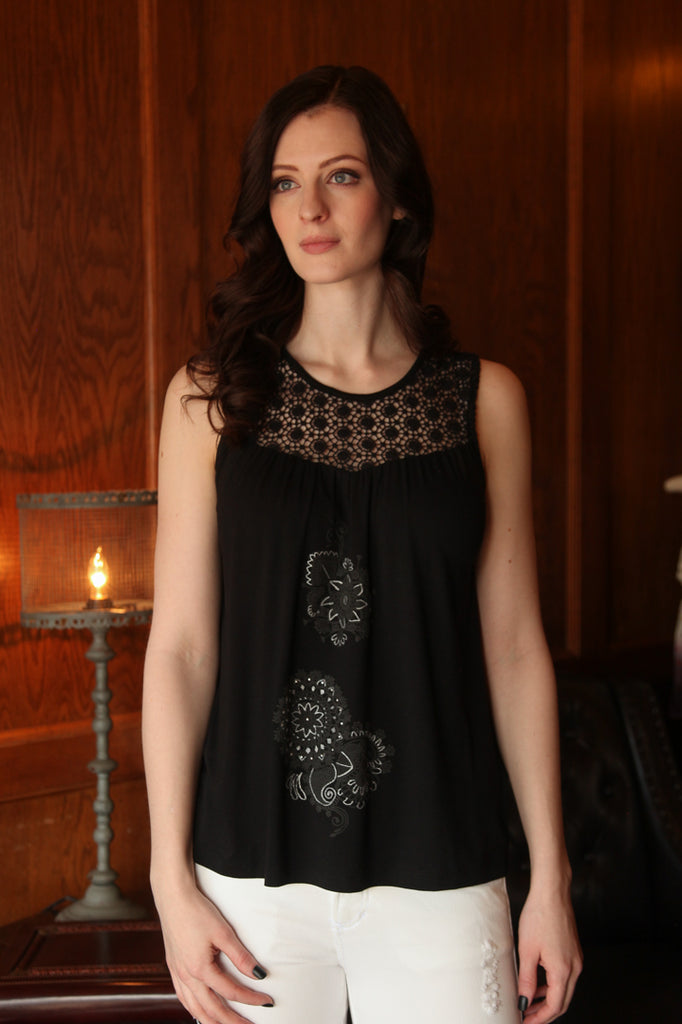 Garance Sleeveless Blouse in Black