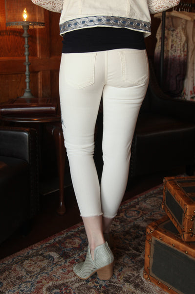 Evens Embroidered Pant in White