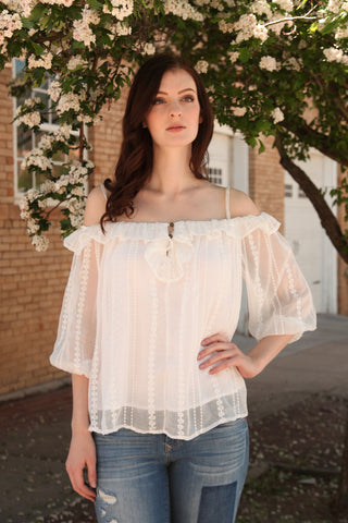 Embroidered Off-Shoulder Peasant Blouse