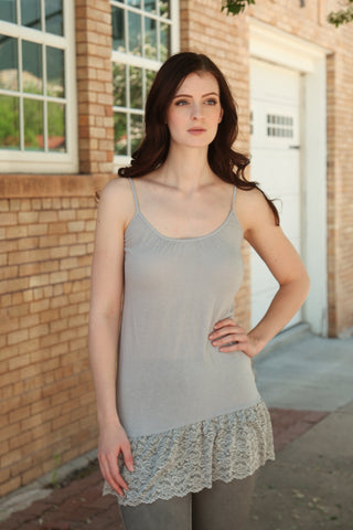 Seamless Camisole with Lace Trim