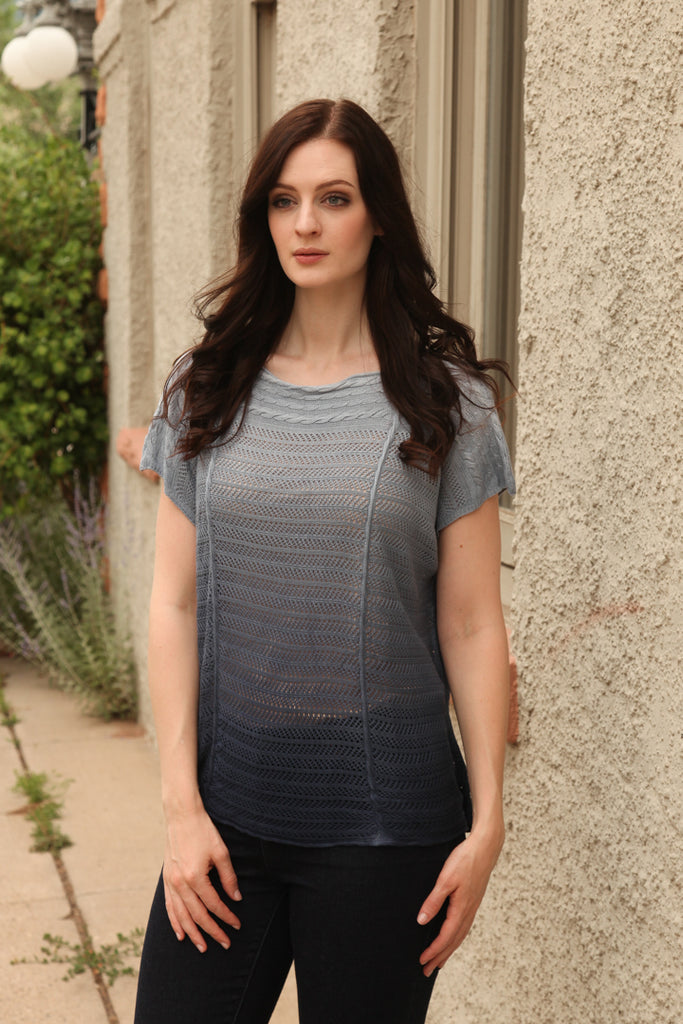 Nina Pointelle Boxy Top in Navy Ombre
