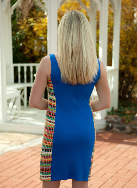 Knit Shift Dress with Yarn Sides