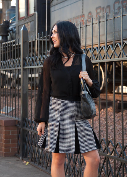 Houndstooth Pleat Skirt