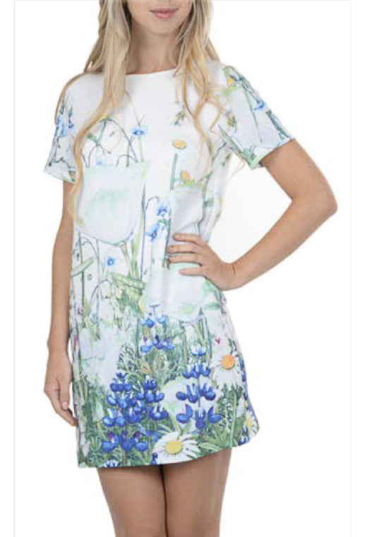 Short Sleeve Shift Floral Shift Dress