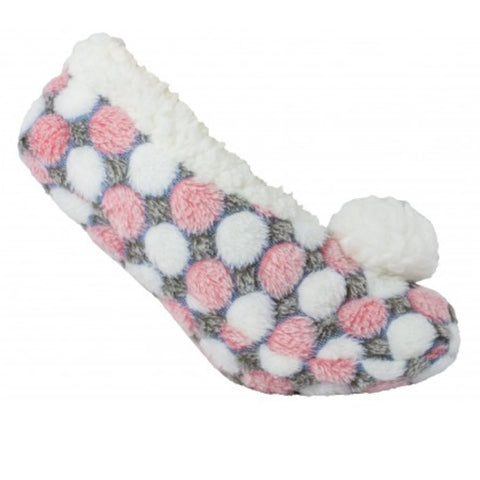 Fuzzy Pink Dotz Slipper Sock