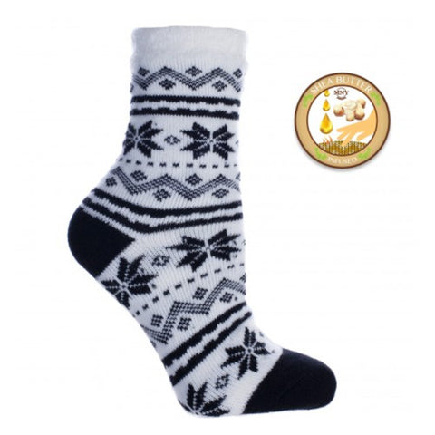 Double Layer Snowflake Shea Butter Sock in Black