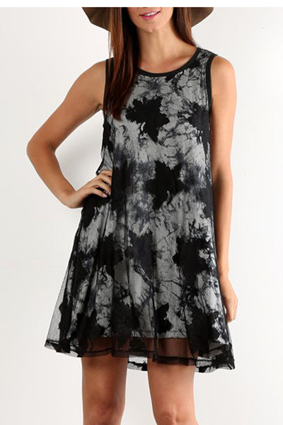 Lace and Tie-Dye Mix Dress