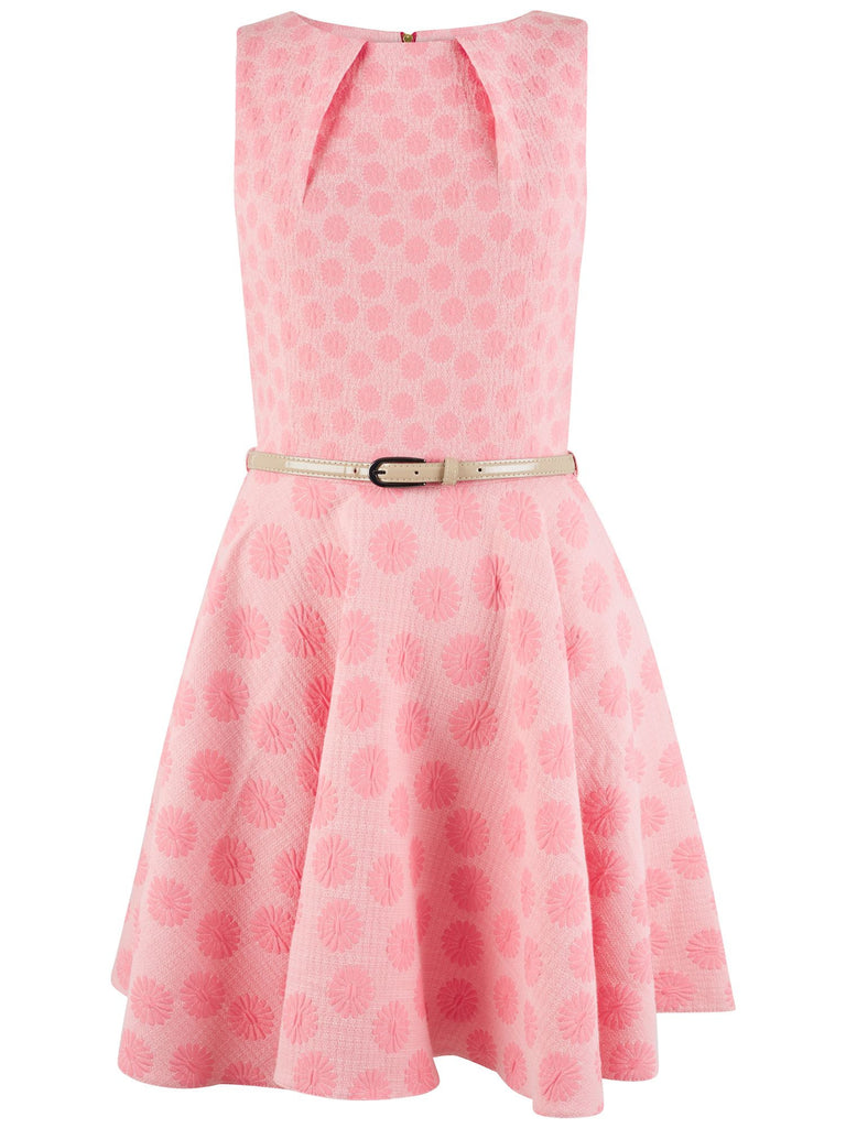 Daisy Jacquard Belted Skater Dress