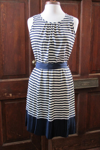 Stripe Sleeveless Dress with Pleated Skirt
