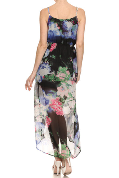 Hi-Low Printed Maxi Dress