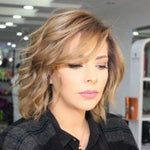 KAMI 131 Wavy Chin Length Curly Wigs for Women Golden Bob Wig