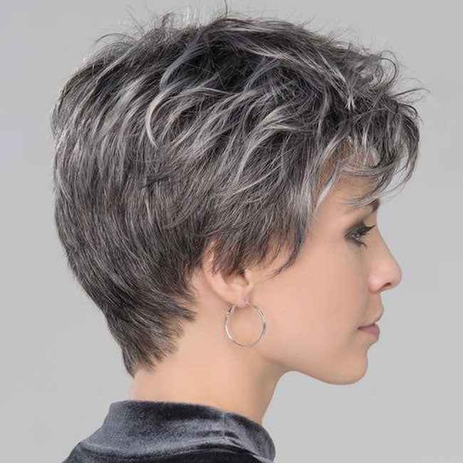Kami 081 Natural Gray Short Pixie Cut Wigs Curly Lace