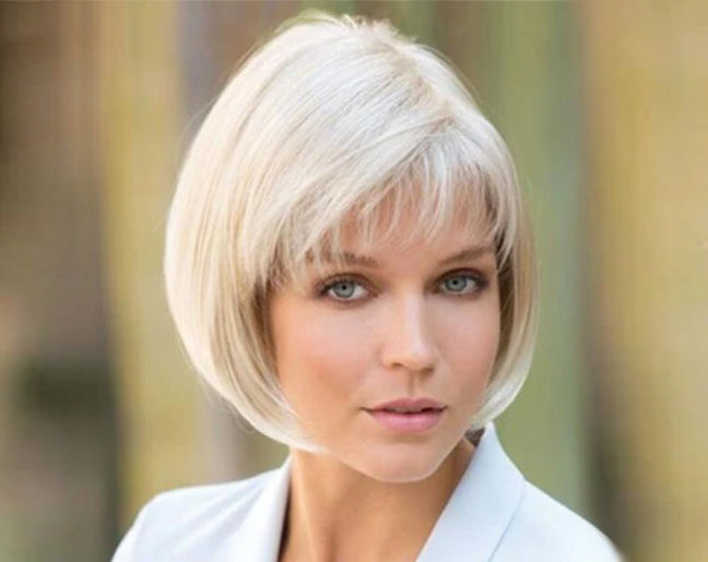 KAMI 072 Smooth Chin Length Straight Bob Wig with Airy Bangs for Ladies