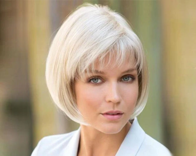 KAMI 171 Women Bob Hair Wigs Silver Straight Chin Length Wig with Bangs