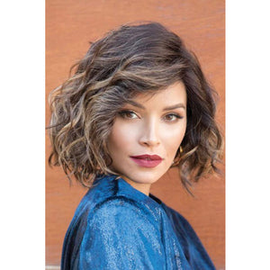 KAMI 121 Chin Wavy Curly Bob Wigs with Bangs Gorgeous Bouncy Quality Synthetic Wig