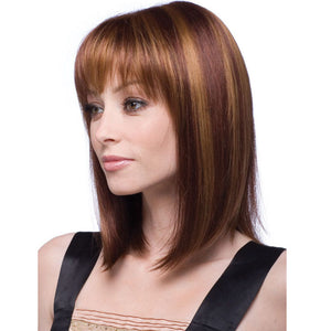KAMI 157 Highlight Color Medium Long Straight Shoulder Length Bob Wig