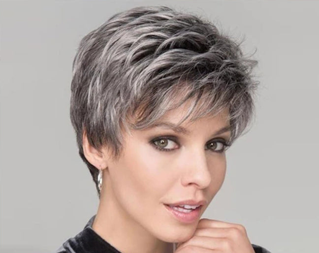 KAMI 081 Natural Gray Short Pixie Cut Wigs Curly with Bangs for Cool Women