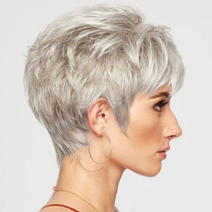 KAMI 101 Cropped Pixie Cut Wigs Boycuts Short Blonde Wavy Wig with Bangs for Ladies