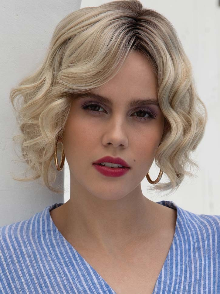 KAMI 155 Silver Natural Bouncy Chin Length Curly Bob Wig for Ladys