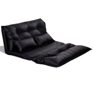Foldable PU Leather Leisure Floor Sofa Bed W/ 2 Pillows Stylish Comfortable Adjustable Design Black Sofa Bed