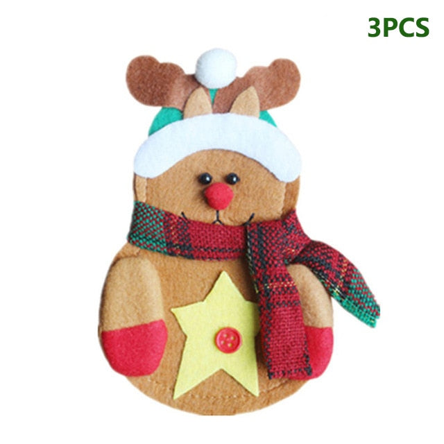 3pcs/set Christmas Decorations For Home Snowman Cutlery Bags Christmas Santa Claus Kitchen Dining Table Cutlery Suit Set Decor