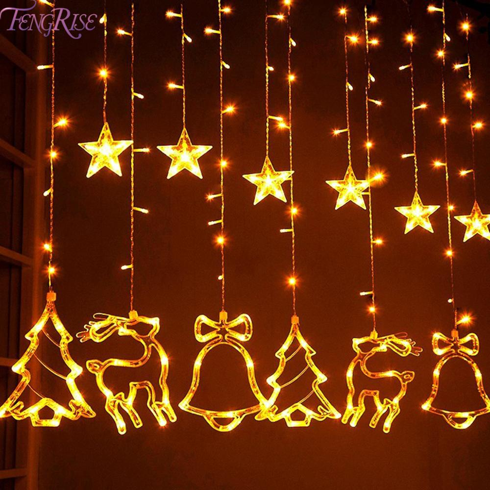 Elk Bell String Light LED Christmas Decor For Home Hanging Garland Christmas Tree