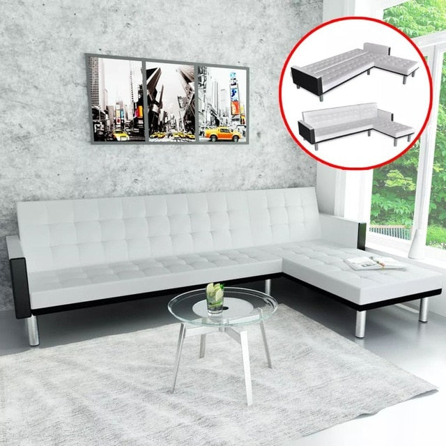 L-shaped Foldable Sofa Bed Modern Comfort Artificial Leather Black and White For Home Apartment Studio Living Room Furniture