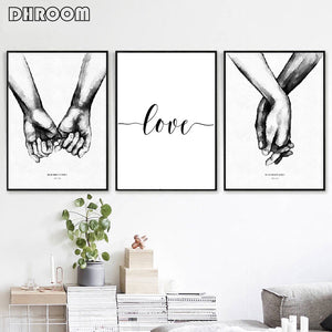 Nordic Back White Style Sweet Love Wall Art Canvas Poster
