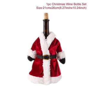 FENGRISE Santa Claus Wine Bottle Cover Christmas Decorations For Home 2019 Christmas Stocking Gift Navidad New Year's Decor 2020