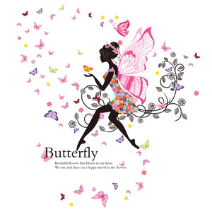 Decal Poster Mural Of Romantic Butterflies Fairy Wall Stickers for Kids Room Bedroom Living Room Baby Children Girl Room