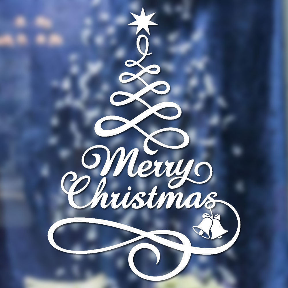 Merry Christmas Decor Christmas Tree Letters Wall Stickers Art Decal Mural Glass Window Wall Sticker Xmas Home Room Decoration