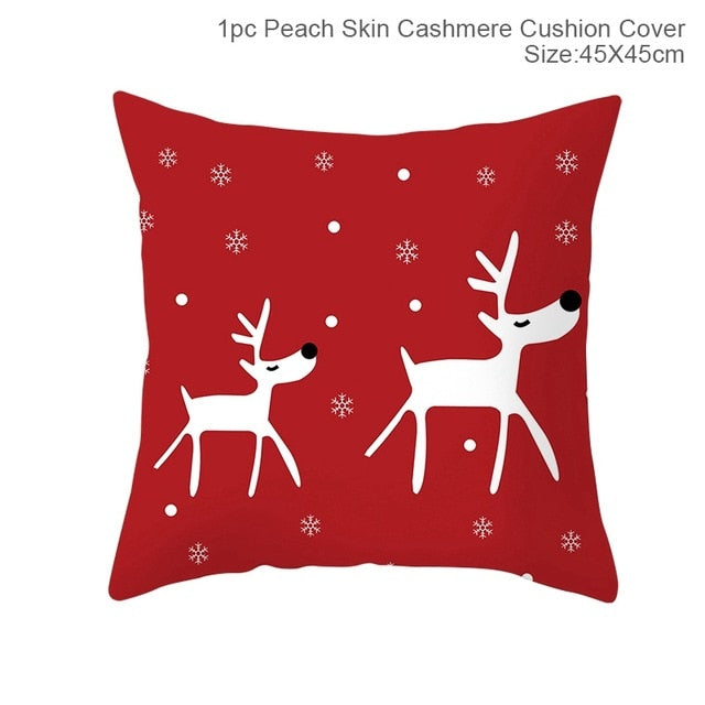 FENGRISE 45x45cm Cotton Linen Merry Christmas Cover Cushion Christmas Decor for Home Happy New Year Decor 2019