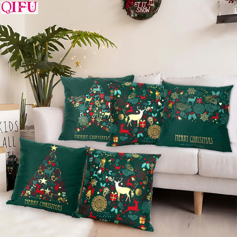 Christmas Green Black Cotton Hot Stamping Pillowcase Christmas Decor for Home 2019 Christmas Party Decor Kerst New Year 2020