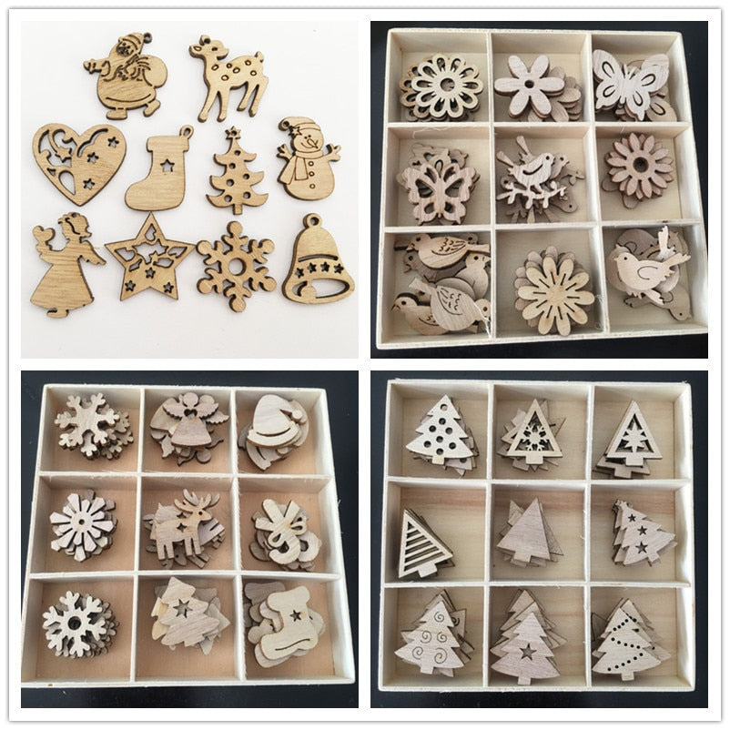 50pcs New Year Natural Wood Christmas Tree Ornament Wooden Hanging Pendants