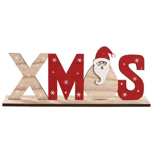 2020 Christmas Decorations for Home Wooden Letter Santa Claus Ornaments