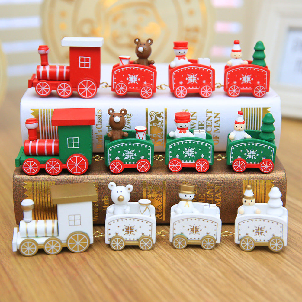 4 Knots Christmas Train Painted Wooden Christmas/New Years Decoration For Home
