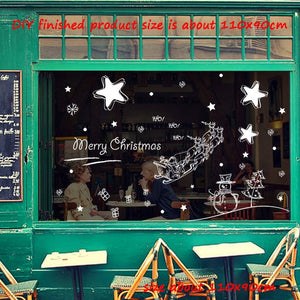 2020 New Year Merry Christmas Decorations for Home Snowflake Hut Wall Sticker Shop Window Glass Decoration Removable PVC Sticker