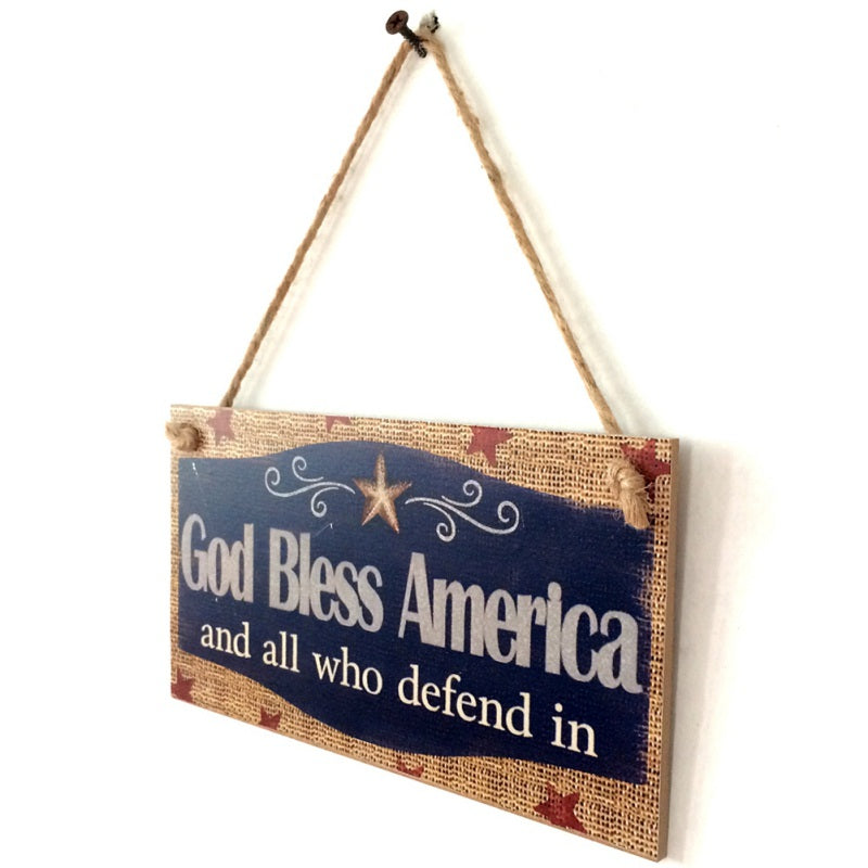 Wooden Square Home Decoration Crafts Hanging Board For American Independence Day Matriculas De Coche Decorativas New X